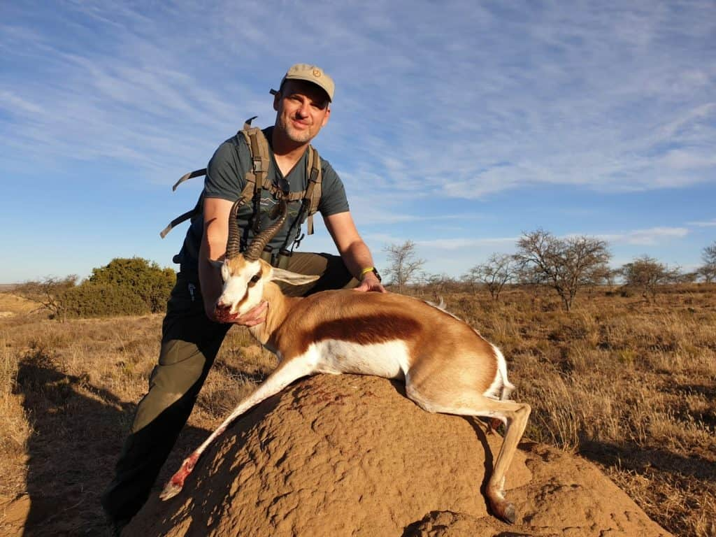 Springbok trophy shot during our African hunting safari