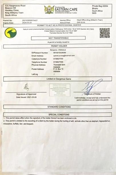 Benjamin Pringle hunting guide permit.