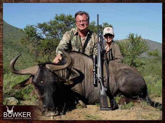 Blue Wildebeest trophy shot in the Eastern Cape South Africa with Nick Bowker Hunting