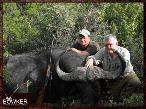 Cape Buffalo trophy shot with Nick Bowker hunting