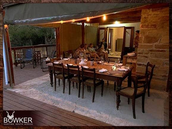 Enjoying dinner on our safari.