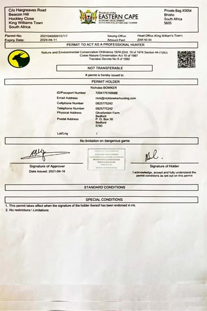 Nick Bowker dangerous game and Plains hunting guide permit.