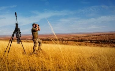 Nick Bowker glassing for antelope.  A personalised African Hunting Outfitter.